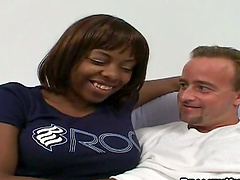 Interracial passion with a big titted..
