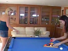 Lesbian Threesome On The Billiard Table