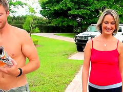 Blonde mom Misty Law gives head and..