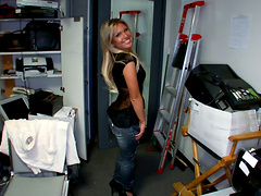 Slutty Blonde Screwed In The Back Room
