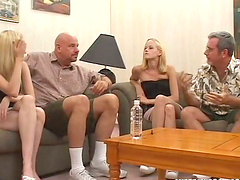 Horny blonde twins get fucked by two..