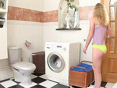 Curly blonde teen gets her tight ass..
