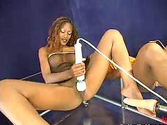 Smoking hot ebony twins are sharing a..