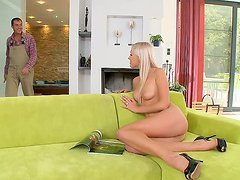 Smoking hot blond sex doll is so happy..