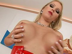 Genevieve sucks two cocks hungrily and..