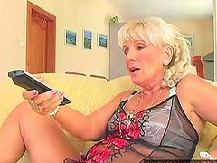 Blonde granny Mamie seduces a handsome..
