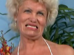 Blonde grannie Effie blows before..