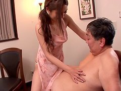 Asian stunner must fuck her father in..