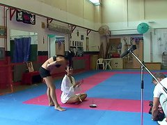Sharon Lee & Amabella wrestling and..