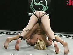 Two lesbies fight and fuck on tatami