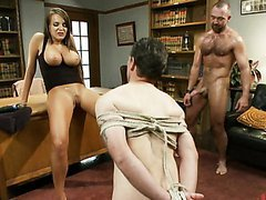 Hot Bisexual Babe fucks the man with..