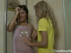 Lesbian shower with dildo sex