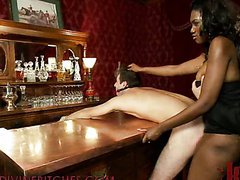 Hot black mistress dominates two white..