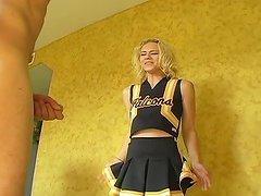 Blonde Cheerleader Gets To Boss Around..