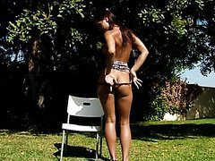 Hot Chick Pees Outdoors While Naked
