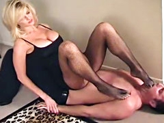 Shameless and hot blonde is sitting on..