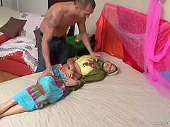 Yessica Gold gets up from her nap to..