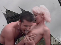 Blonde mom Monika satisfies two men on..