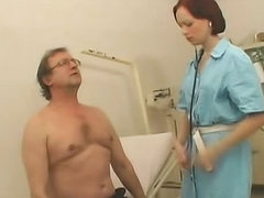 Redhead nurse with skillful mouth is..