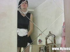 Masturbating skinny French maid