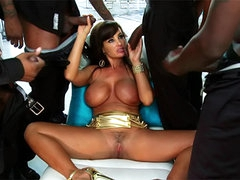 Interracial gangbang of pornstar Lisa Ann