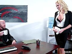 Blonde secretary with fake tits enjoys..