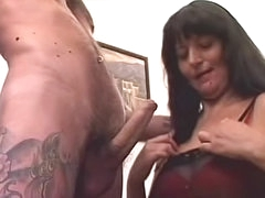 Cumshot lands on the well fucked mature