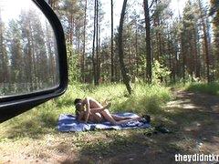 Teens filmed fucking outdoors from car