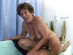 Granny toyed and fucked by his stiff..