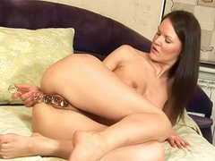 Teenager and her glass dildo masturbate