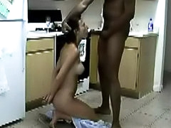 Interracial wife fucking in kitchen
