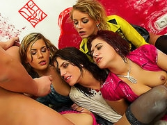 Gooey gals boned in a lusty orgy