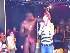Male strippers pleasured at club