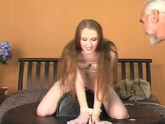 Bound babe buzzed on the Sybian dildo