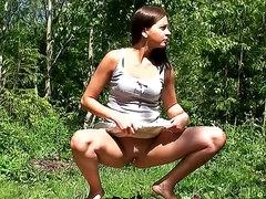 Kinky brunette hottie got caught..