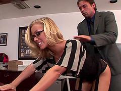 Slutty Blonde Secretary Gets Nailed..