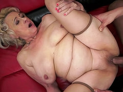 Big young cock cums in granny
