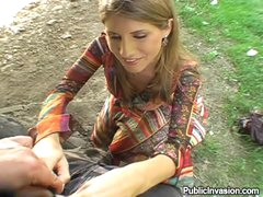 Beautiful girl suck and fuck outdoors