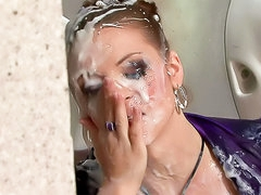 Slut in sexy blouse covered in goo