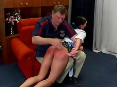 Teen ass spanked over the knee style