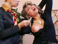 Lesbian femdom in the office
