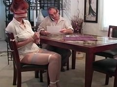 Tied and gagged milf redhead is sexy