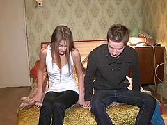 Skinny brunette coed gets her moist..