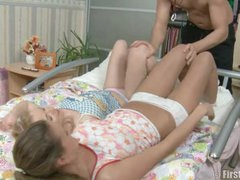 Jizz hungry teens threesome