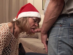 Fucking old lady in stockings gets him..