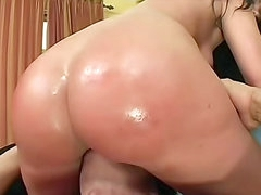 Big ass hottie oiled and fucked hardcore