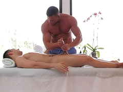 Gay massage and rimjob on table