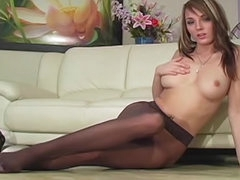 Sexy pantyhose girl in verbal tease..