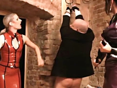 Fat guy dressed as a girl brutally..