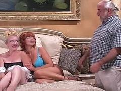 Two older women have fucking machine fun